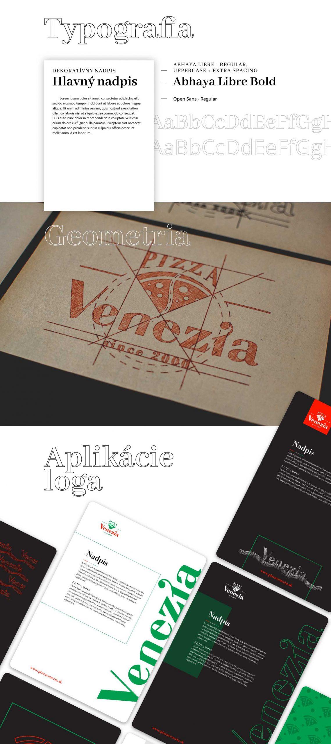 Typografia loga, geometria loga a aplikácie.