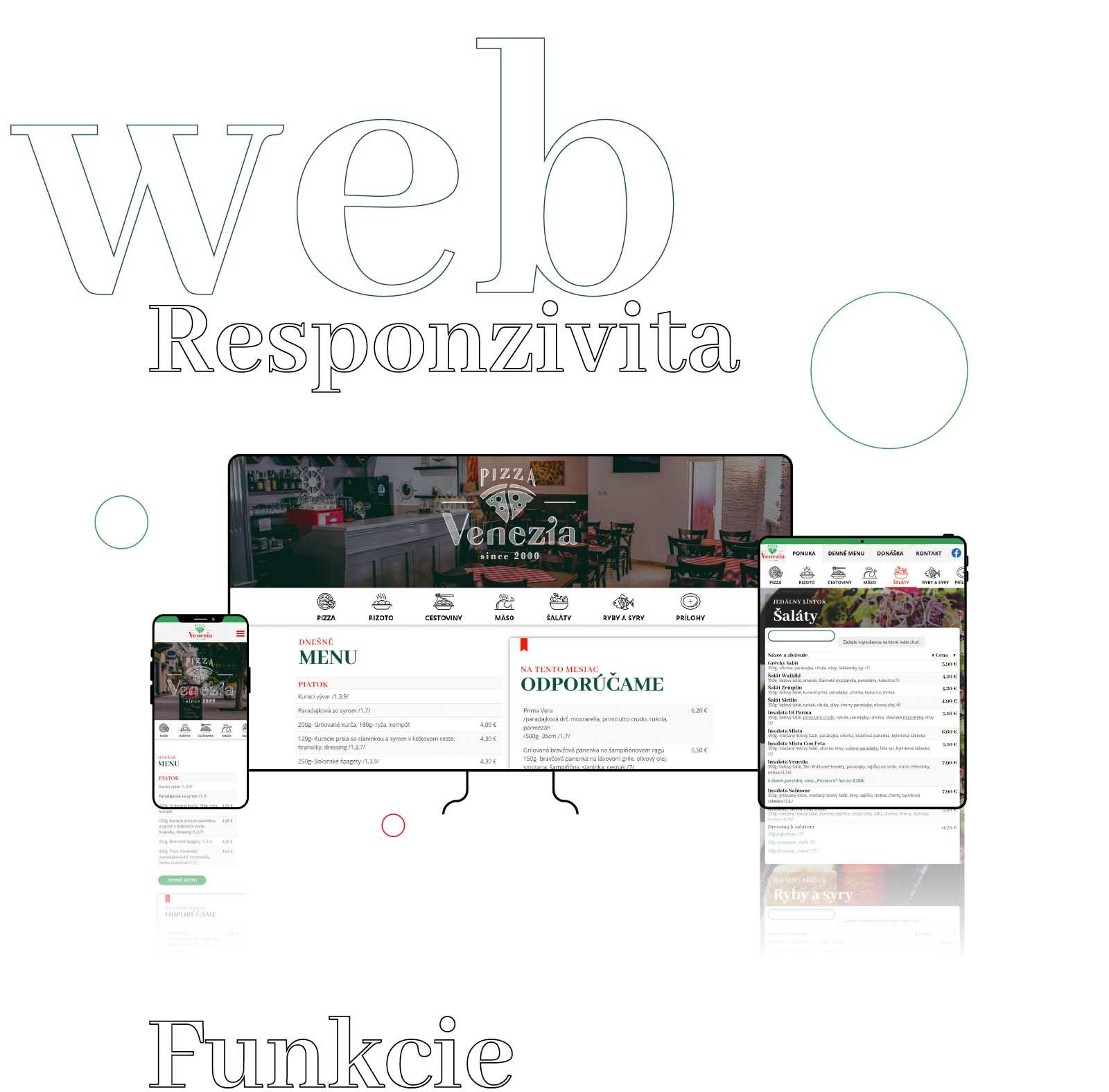 Web je responzívny pre mobilné zariadenia, tablety a veľké obrazovky.