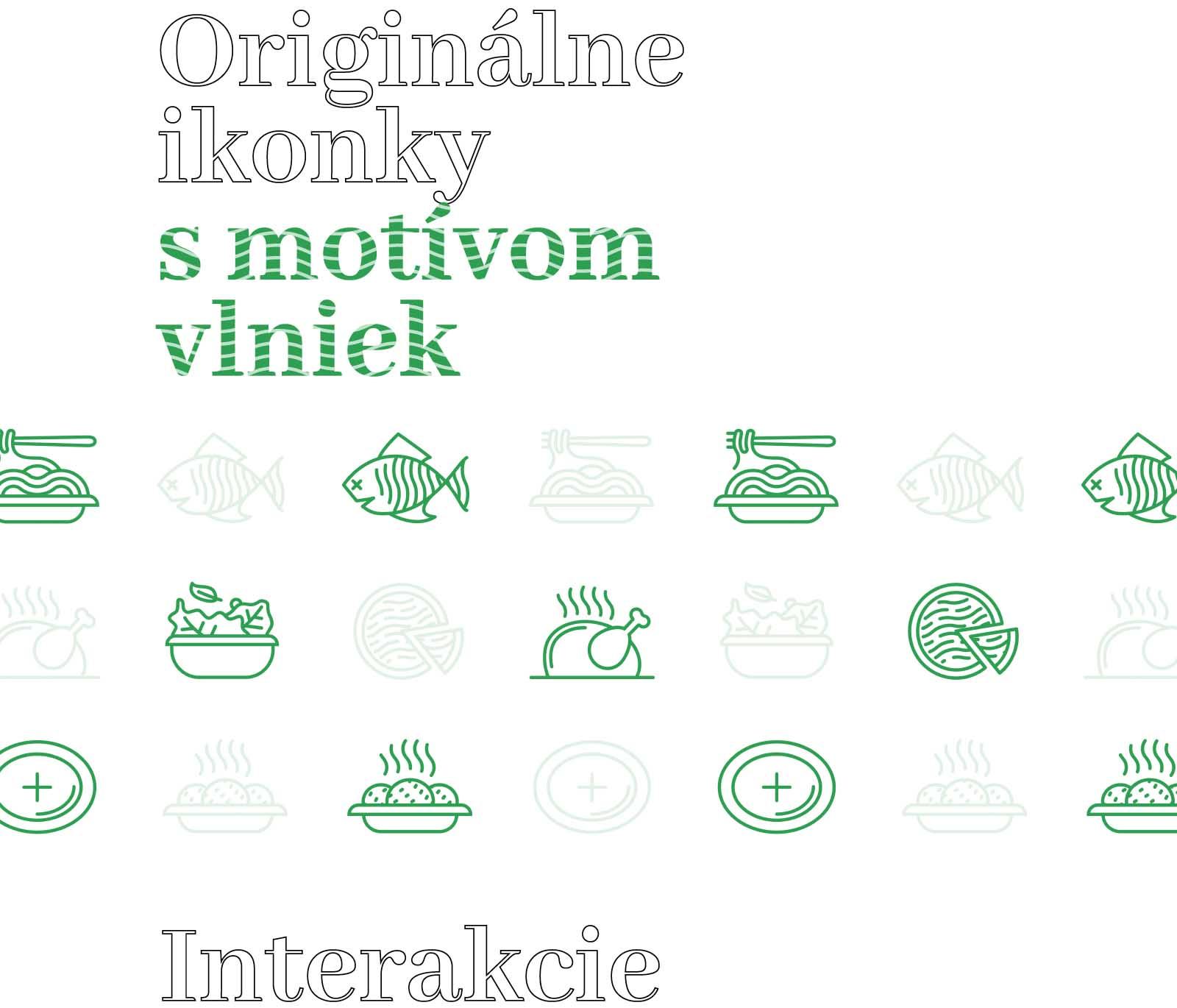 Originálne ikonky s motívom vlniek pre pizzeriu