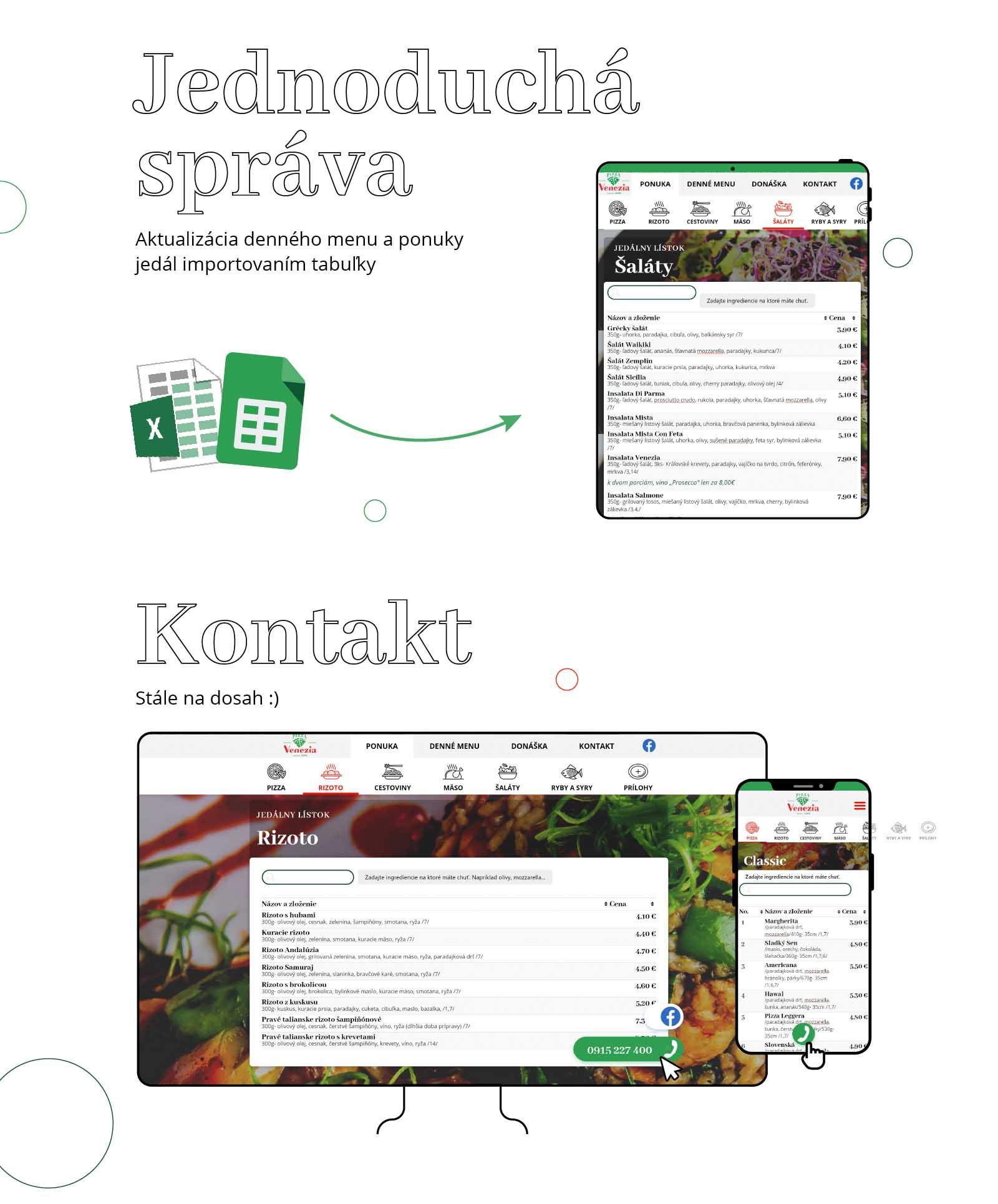 Obrázok obsahuje text: Jednoduchá správa. Aktualizcia denného menu a ponuky jedál importovaním tabuľky. Kontakt na webe je stále na dosah, aby si zákazník mohol objednať jedlo na donášku.