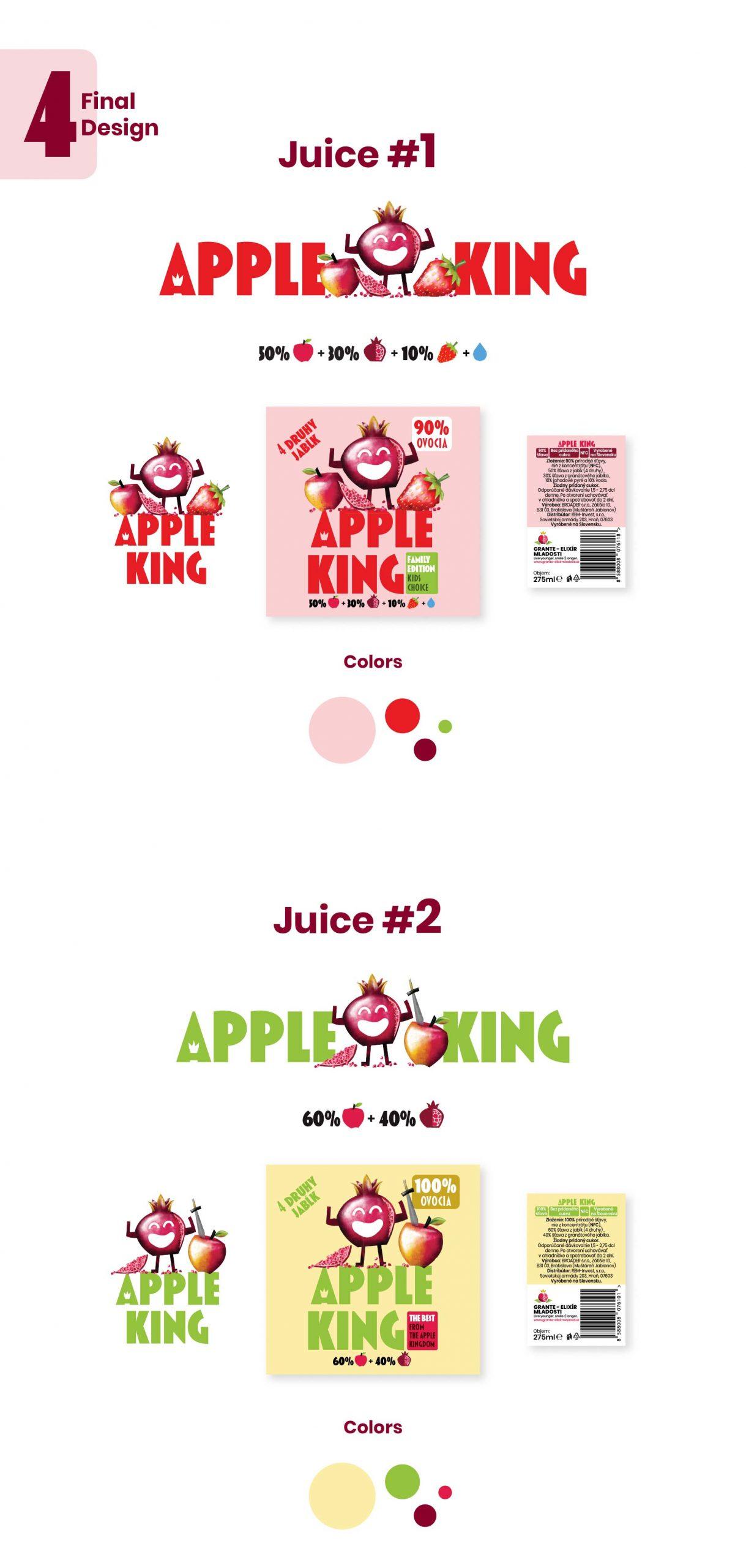 Finálny dizajn brandingu Apple king - logo etikety a farby